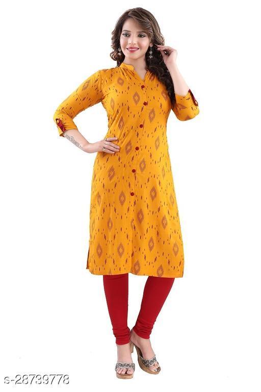 Dream Desi Women's IKKAT Print Rayon Soft Cotton Straight Kurti for Casual/Formal wear.