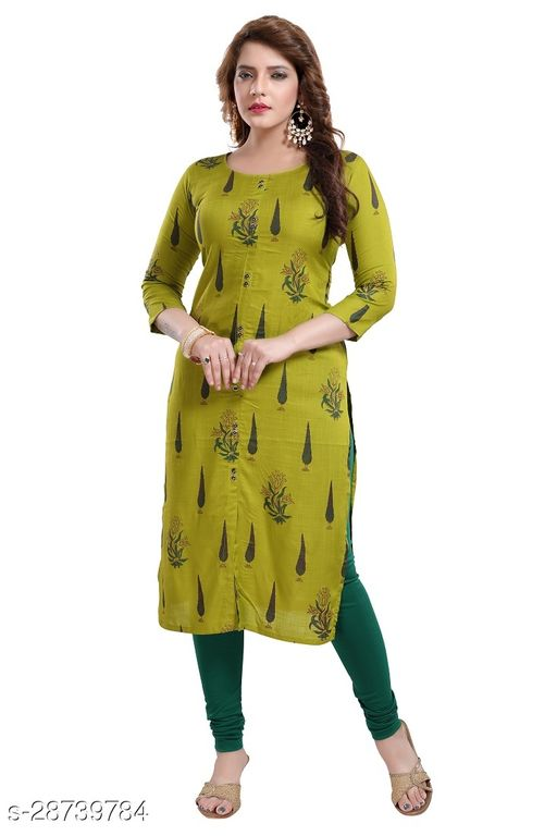 Dream Desi Women's Rayon Printed Straight Kurti for All Plus Size and Small Size