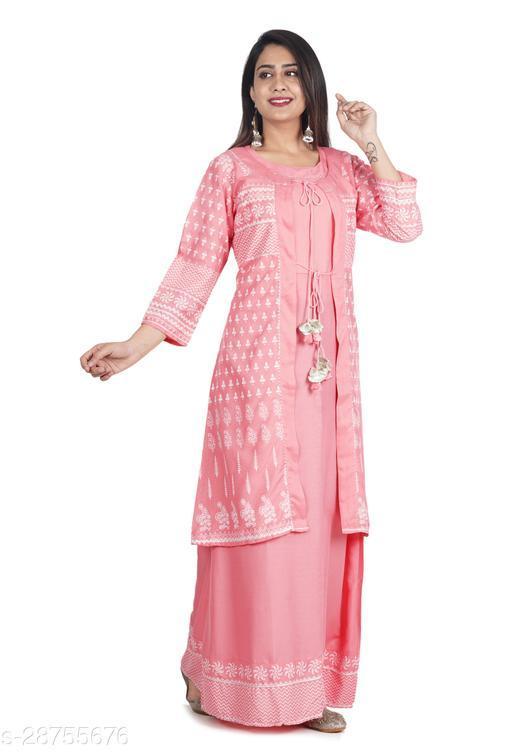 Prineh Women's Rayon Ethnic Motif Printed Jacket Kurti