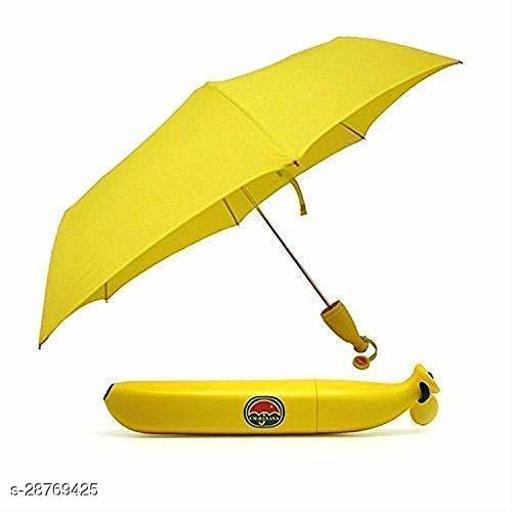 Banana Shape Folding Automatic Open Mini Umbrella for Travel -(Yellow Colour)