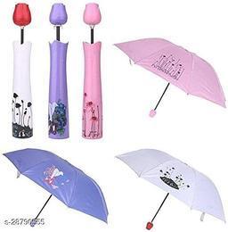 Seetu Rose Flower Case Umbrella Folding Lightweight Waterproof UV Protection Mini Folding Creative Canvas Plastic Umbrella with Desige-pack of 01