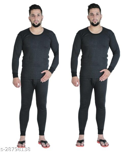 BODYSENSE Dark Grey Men's Thermal Top & Pyjama Set ( Pack of 2 Set )