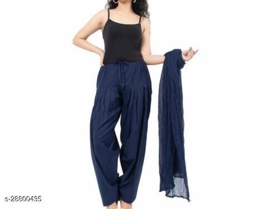 Women's Pure Cotton Salwar Dupatta Set Free Size Navy Blue Colour