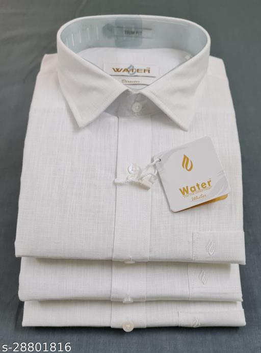 Water Cotton Linen Trim Fit Men Shirts