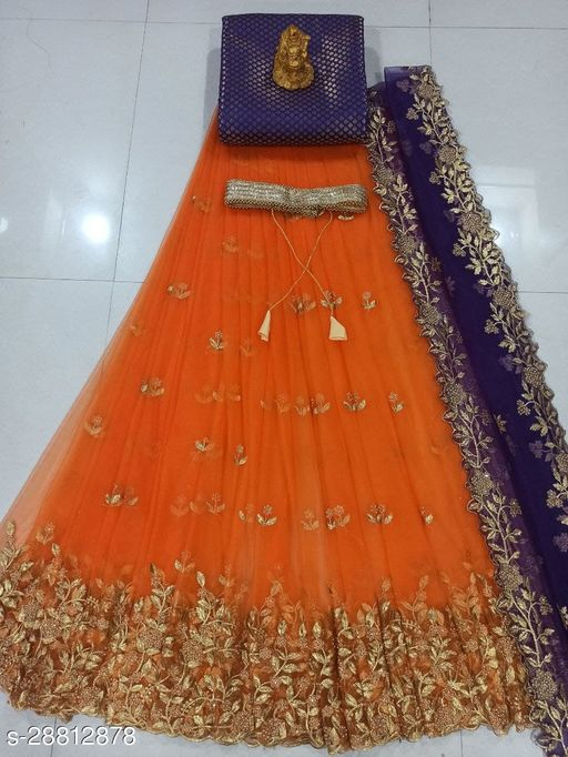 TRADITIONAL WOMEN's EMBROIDERY NET LEHENGA (UN-STITCHED)