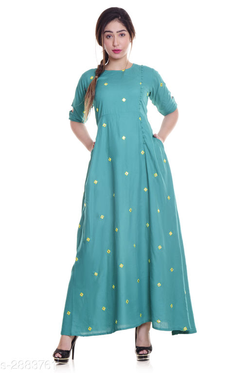 Kurtis & Kurtas Ladies Rayon Mirror Work Kurti  *Fabric* Rayon  *Sleeves* Sleeves Are Included  *Size* M - 38 in, L - 40 in, XL - 42 in, XXL - 44 in, 3XL -  46 in  *Length* Up To 52 in  *Type* Stitched  *Description* It Has 1 Piece Of Women's Kurti  *Work* Mirror Work  *Sizes Available* M, L, XL, XXL, XXXL   Supplier Rating: ★4 (2722) SKU: NL-291 Shipping charges: Rs1 (Non-refundable) Pkt. Weight Range: 300  Catalog Name: Eva Trendy Attractive Rayon Mirror Work Kurti - NEELKANTH ETHNIC CENTER Code: 826-2883761--276