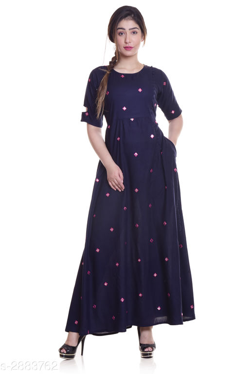 Kurtis & Kurtas Ladies Rayon Mirror Work Kurti  *Fabric* Rayon  *Sleeves* Sleeves Are Included  *Size* M - 38 in, L - 40 in, XL - 42 in, XXL - 44 in, 3XL -  46 in  *Length* Up To 52 in  *Type* Stitched  *Description* It Has 1 Piece Of Women's Kurti  *Work* Mirror Work  *Sizes Available* M, L, XL, XXL, XXXL   Supplier Rating: ★4 (2722) SKU: NL-290 Shipping charges: Rs1 (Non-refundable) Pkt. Weight Range: 300  Catalog Name: Eva Trendy Attractive Rayon Mirror Work Kurti - NEELKANTH ETHNIC CENTER Code: 826-2883762--276