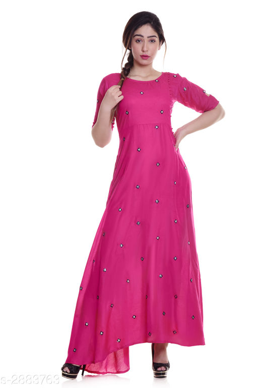 Kurtis & Kurtas Ladies Rayon Mirror Work Kurti  *Fabric* Rayon  *Sleeves* Sleeves Are Included  *Size* M - 38 in, L - 40 in, XL - 42 in, XXL - 44 in, 3XL -  46 in  *Length* Up To 52 in  *Type* Stitched  *Description* It Has 1 Piece Of Women's Kurti  *Work* Mirror Work  *Sizes Available* M, L, XL, XXL, XXXL   Supplier Rating: ★4 (2722) SKU: NL-292 Shipping charges: Rs1 (Non-refundable) Pkt. Weight Range: 300  Catalog Name: Eva Trendy Attractive Rayon Mirror Work Kurti - NEELKANTH ETHNIC CENTER Code: 826-2883763--276
