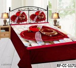 Hut Comfy Velvet Printed Double Bedsheet