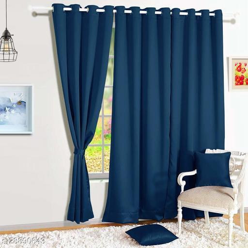 Blackout Eyelet 1 Piece Faux Silk Ring top Door Curtain-7 feet, Navy Blue