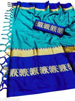 Rajawadi Elegant Elephant Design Cotton Silk Saree (Cyan & Blue)