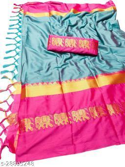 Rajawadi Elegant Elephant Design Cotton Silk Saree (Aqua & Pink)
