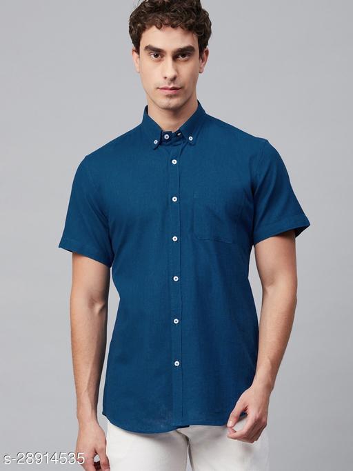 Dennison Men's Royal Blue Solid Casual Slim Fit Half Shirt