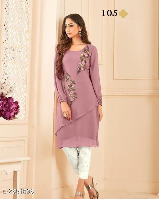 Kurta Sets Women's Georgette  Kurta Set with Pants  *Fabric* Kurti - Diamond Georgette, Inner - Santoon, Bottom - Rayon 