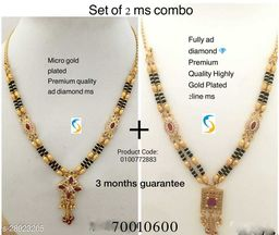 Designer good quality highly micro gold plated 2line set of2 ms combo.