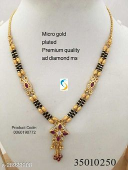 Super quality and long lasting mangalsutra. • Daily wear ethnic gold plated designer black b
