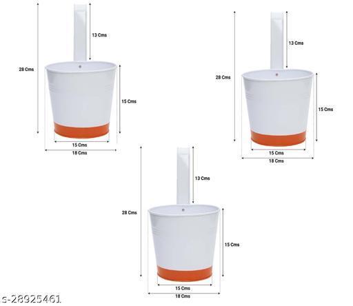 Crown of Colors Balcony Railing Garden Flower Pots/Planters - Set of 3 (Orange)