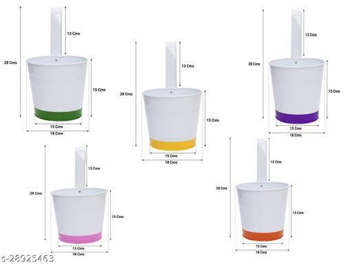 Crown of Colors Balcony Railing Garden Flower Pots/Planters - Set of 5 (Green, Orange, Pink, Purple, Yellow)