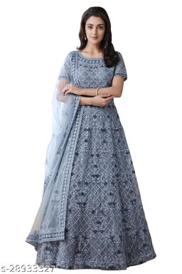 Women's Chain Embroderied Grey Gown