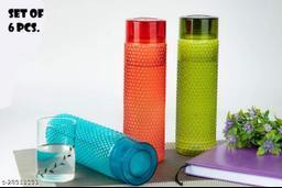 Plastic Water  bubble  Bottle Set For Fridge, Gym, School Kids, Office, Sports, Yoga- 1 Litre, Multicolored , SET OF 6