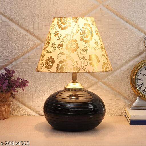 Beige & Gold Shade Table Lamp With Black Terracotta Base
