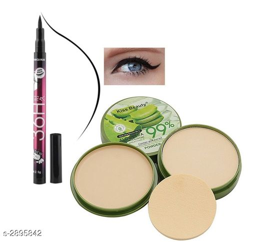 Kiss Beauty Matte Compact Powder With 36H Eyeliner