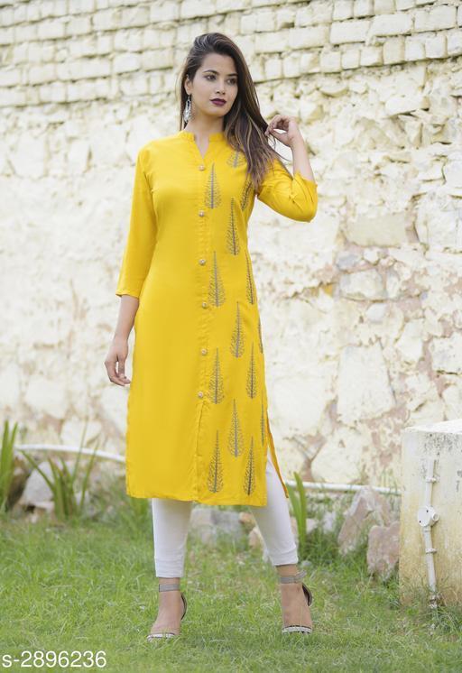 Women Rayon A-line Embroidered Yellow Kurti