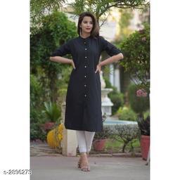 Women's Black Solid Cotton Kurti