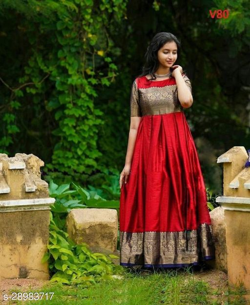 V80 - Intricate Maroon Colored Partywear Woven Soft Silk Jacquard Gown