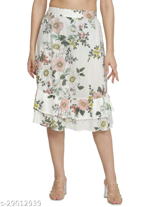 NUEVOSDAMAS Women rayon white floral skirt