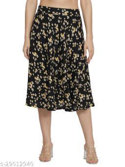 NUEVOSDAMAS Women Rayon black floral skirt
