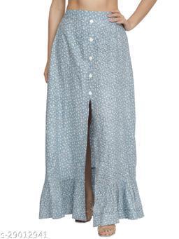 NUEVOSDAMAS Women rayon blue floral skirt