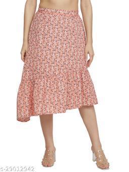 NUEVOSDAMAS Women crepe pink floral skirt
