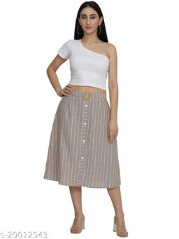 NUEVOSDAMAS Women cotton stripes A-line skirt
