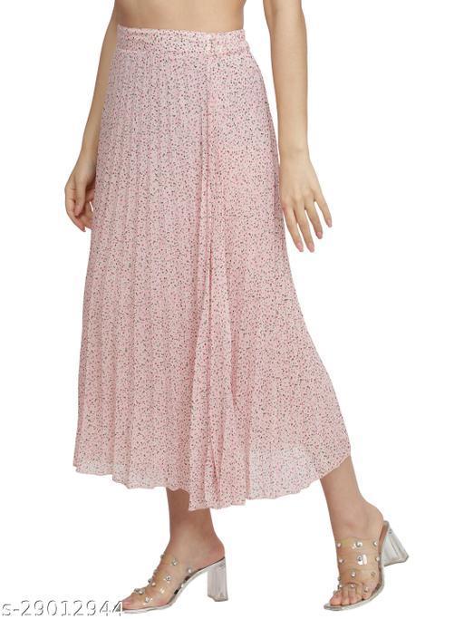 NUEVOSDAMAS Women Georgette pink floral skirt