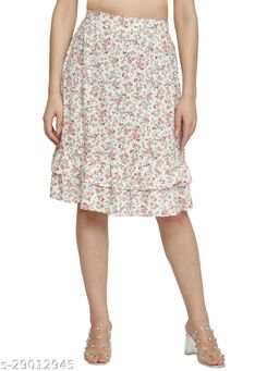 NUEVOSDAMAS Women rayon white printed skirt