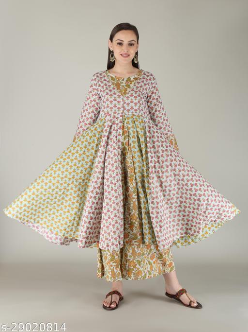 MALHAAR Women's Cotton Printed Western Wear JumpSuit (Green)