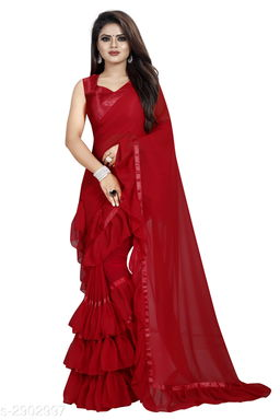 Moah georgette ruffle frill party wear saree for women(red)