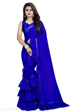 Moah georgette ruffle frill party wear saree for women(blue)
