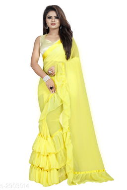 Moah georgette ruffle frill party wear saree for women(yellow)