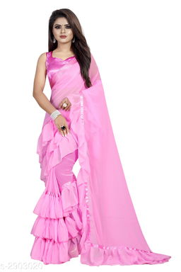 Moah georgette ruffle frill party wear saree for women(pink)