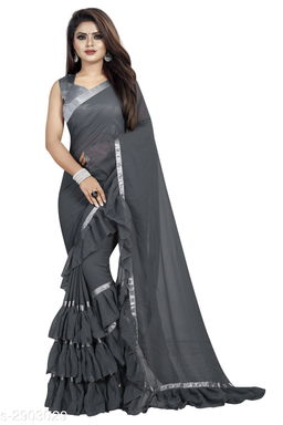 Moah georgette ruffle frill party wear saree for women(grey)