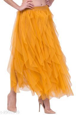 Women Mesh Net Full Flare High Waist Western Skirt with Shantoon Lining – Stretchable Belt