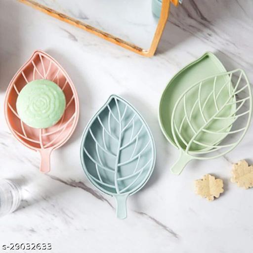 Plastic 3Pcs Beautiful Leaf Shape Double Layer Soap Dish Case Holder Bathroom Accessory