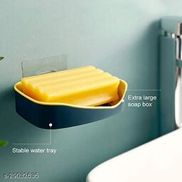 Self Adhesive Wall Mounted Soap Holder for Bathroom Plastic Soap Dish with Drain Tray