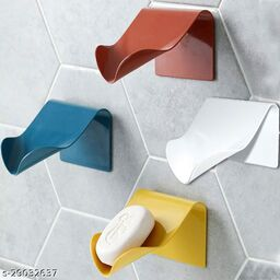 Wall Mounted Kitchen Bathroom Magic Sticker Self-Adhesive Soap Holder Bathroom Shower Soap Dish Tray