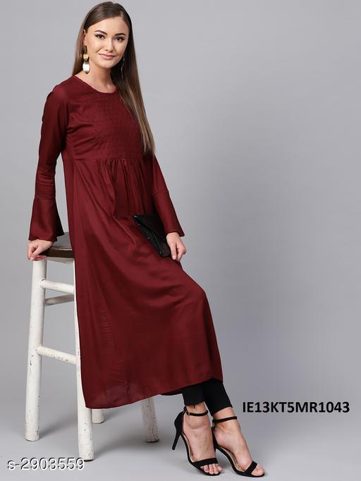 Women's Solid Viscose Rayon Anarkali Kurti