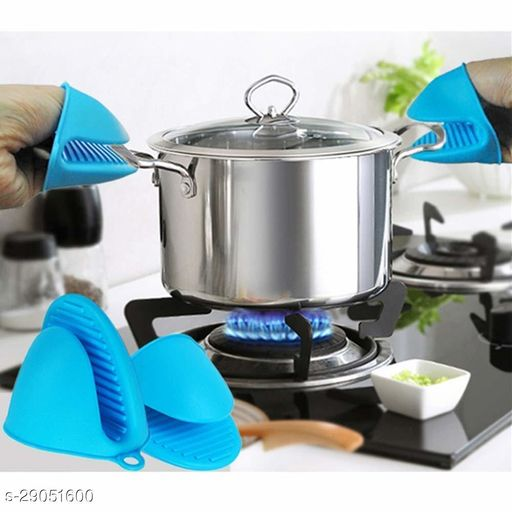 Silicon Mini Cooking Pinch Grip Heat Resistant Cooking Gloves - Set of 1 Pair (Multicolour)