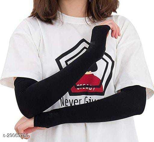 Ekshi Men & Women  UV Sun Protection Compression Sports Cooling Arm Sleeves-Black