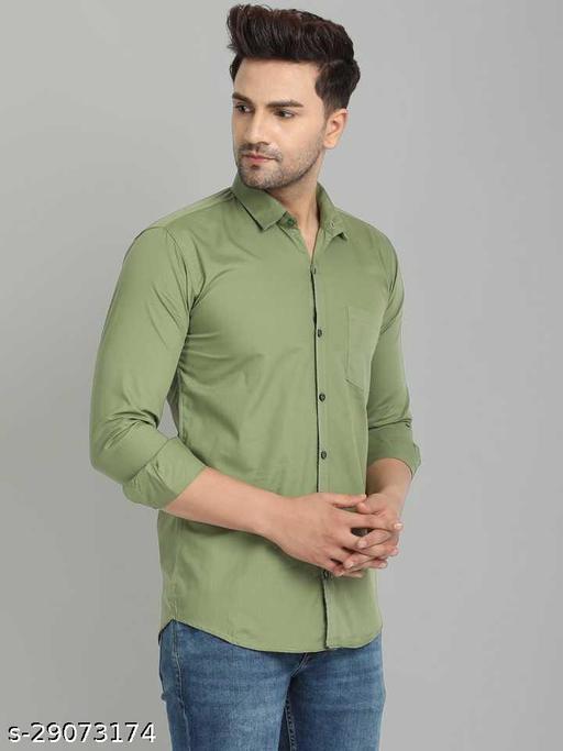 saiha men solid casual light green shirt